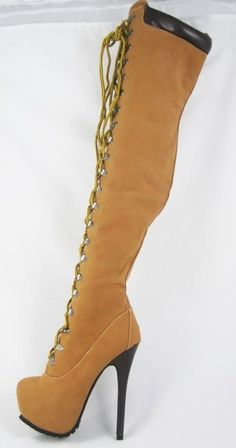CR Poly-2 Thigh High Lace Up Almond Toe High Heel Platform Side Zipper Working Boot Camel 6