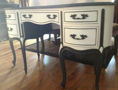 Black an white painted writing desk ~ Louise May Heath Owner and Operator of LuxTouch Vintage Furniture & Decor #LuxTouch