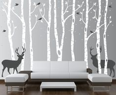 InnovativeStencils - Birch Tree Winter Forest Set Vinyl Wall Decal - this is the one!!!
