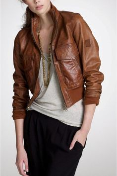 Flap Pockets Genuine Brown Leather Bomber Jacket for Women Brown Leather Bomber Jacket, Leather Jacket Outfits, Leather Jackets, Blazer Outfits For Women, Jackets For Women, Clothes For Women, Biker, Trench Jacket, Motorcycle