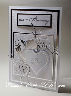 stunning anniversary card ... love the look of silver and white together