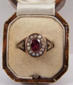 victorian garnet and pearl mourning ring