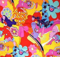 Rare Alexander Henry Penelope Cotton Fabric 1 FQ - Bright Psychedelic Peter Max Inspired