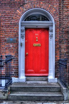 Red Door, Dublin, Ireland- everyone has painted doors here!! I love the red ones the best :-)