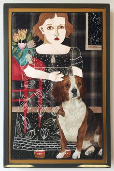 Available for sale from Antieau Gallery, Chris Roberts-Antieau, When My Dog Was Here Fabric Appliqué, 40 × 25 × 3 in Chris Roberts, Animal Quilts, Sketch Painting, Outsider Art, Types Of Art, Fabric Art, Dog Art, Contemporary Paintings, Lovers Art
