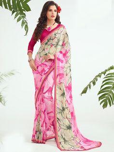 Chiffon Pink & Beige Floral Print Saree - 69A