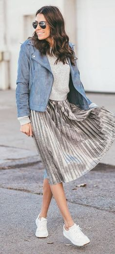 casual style obsession jacket + skirt + top