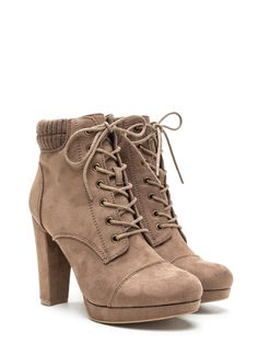 Knit Pick Faux Suede Lace-Up TAUPE - GoJane.com