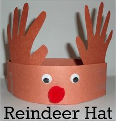 christmas crafts for kids to make Super easy reindeer hat craft for kids. Daycare Crafts, Toddler Crafts, Kids Daycare, Kids Boys, Reindeer Hat, Reindeer Headband, Reindeer Pokey, Hat Crafts, Paper Crafts