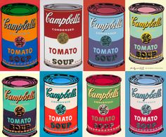 "Pop Art: Andy Warhol Campbell soup cans. Pop art, short for ""popular art"", glorified representation of ordinary objects. Andy Warhol Pop Art, Andy Warhol Obra, Andy Warhol Soup Cans, Juan Sanchez Cotan, Mickey Mouse Imagenes, Campbell's Soup Cans, James Rosenquist, Pop Art Movement, David Hockney"
