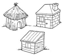 Three Little Pigs Houses Coloring Pages House Colouring Pages, Free Coloring Pages, Coloring For Kids, Colouring Sheets, Three Little Pigs Houses, Button Crafts For Kids, Quiet Book Templates, Finger Puppets, Paper Toys