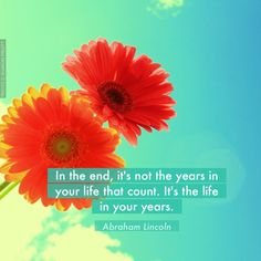 """This poster was created with Life is Beautiful app - https://itunes.apple.com/us/app/life-is-beautiful-get-daily/id607999197?ls=1&mt=8 """"In the end, it's not the years in your life that count. It's the life in your years."""" Quote author: Abraham Lincoln; Photo by: D. Sharon Pruitt"""