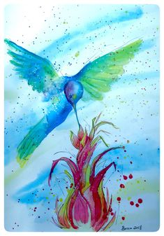 Watercolour paint of a purple blue and green hummingbird drinking nectar from a red & yellow flower