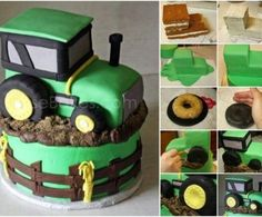 You will love this John Deere Tractor Cake Tutorial and we have video instructions to show you how. Check out the ideas now. Food Cakes, Cupcake Cakes, Cupcakes, Cake Fondant, Tractor Birthday Cakes, Tractor Cakes, Bolo Diy, Decors Pate A Sucre, Alphabet Cake
