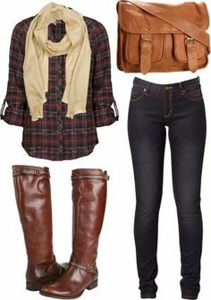 Fall Outfit With Tartan,Scarf and Long Boots by yolanda