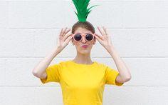 Inspiration, alle Accessoires und eine Schmink-Anleitung, damit du dein Ananas Kostüm selber machen kannst.