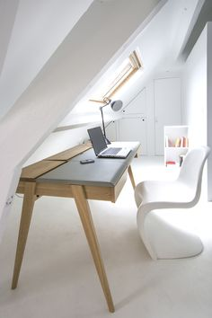 Interior design ideas: beautiful #office space, wood + white! #Beautiful furniture - pantone #chair!