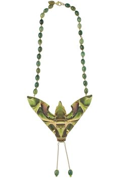 Tatty Devine Autumn/Winter 2012: Hawk Moth Large Necklace - jade - £165: https://www.tattydevine.com/shop/by-product/collections/autumn-winter-2012/hawk-moth-large-necklace-jade.html