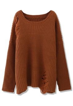 Shredded Knit Sweater in Brown - Sweaters - Tops - Retro, Indie and Unique Fashion