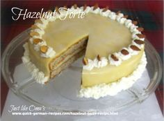 Hazelnut cake, such a delicious treat http://www.quick-german-recipes.com/hazelnut-torte-recipe.html Great for company and family alike