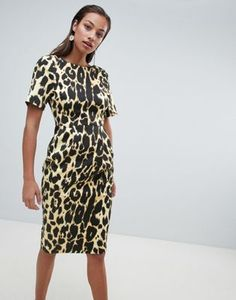 ASOS DESIGN wiggle midi dress in leopard print Funky Outfits f9d0f9d97