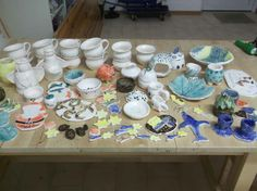 """the """"harvest"""" of the glaze firing on 06.12.2013 - all pots were o.k. (no running glazes!!!)"""