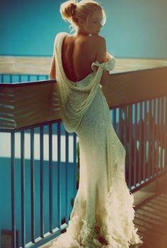 backless wedding dress. stunning.