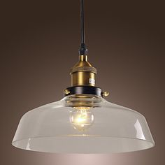 60W Classical Pendant Light with Transparent Glass Shade in Factory Style - USD $ 129.99