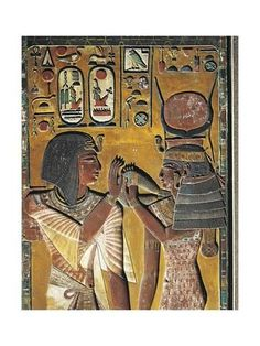 Egyptian civilization New Kingdom Dynasty XIX Goddess Hathor offers her necklace to the Pharaoh Painted relief from a pillar of the tomb of Seti I at. Egyptian Goddess, Ancient Egyptian Art, Ancient History, Art History, History Facts, Art Antique, Historical Artifacts, Virtual Art, African History
