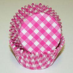 Hot Pink Gingham cupcake liners