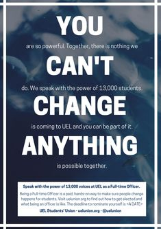 Quick mock-up of a concept for UEL Students' Union, Change Is Coming, Anything Is Possible, The Voice, Concept