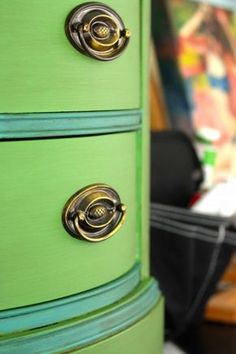 Stunning two tone desk done in Annie Sloan's chalk paint Antibes Green and Provence teal blue from Playing Sublimely.