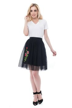 Tulle Skirt Black with Roses Wild Romantic Midi