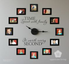 Time spent with family clock from Uppercase Living -- This is going to be my fall/winter project this year. Kind of like this idea for an empty wall. nice way to fill it! Diy Wand, Photo Wall Clocks, Photo Clock, Picture Clock, Picture Frames, Picture Walls, Picture Collages, Family Clock, Family Wall