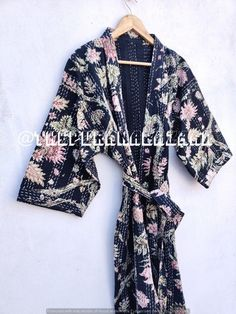 Kantha Jacket Winter Wear Indian Handmade Patchwork Style Quilted Coat, Pure Cotton Comfortable night wear Jacket, bath robe kimono jacket Cotton Kimono, Cotton Jacket, Cotton Fabric, Vintage Kimono, Kimono Jacket, Quilted Jacket, Winter Wear, Nightwear, Coats For Women