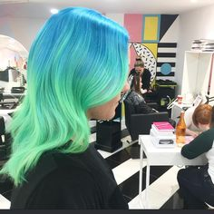 Electric-Blue-to-Seafoam-Green Ombre for Wavy Mid-Length Hair