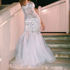Prom dress Baby blue prom dress w/ sequence. Low cut back. Trumpet/mermaid style so show your curves. Dresses Backless
