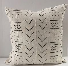 African Mud cloth Pillow Cover, Ethnic, Handwoven, Black and Cream, Various Sizes