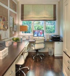 Home office: love the window treatment and burlap boards on the wall
