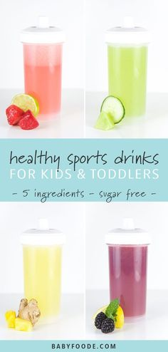 These 4 Healthy Electrolyte Drinks for Toddlers   Kids are made with whole and natural ingredients. Make a batch of these DIY sports drinks for outdoor games or a hot summer day to keep your little ones hydrated and healthy. #healthydrinks #sugarfree #drinks #toddlers