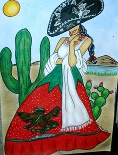 Mi China Poblana by Landy Sotomayor Saad Mexican Artwork, Mexican Paintings, Mexican Folk Art, Arte Lowrider, Mexican Heritage, Mexico Culture, Mexico Art, Spanish Art, Aztec Art