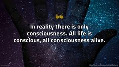 I Am That Quote: In reality there is only consciousness. All life is conscious, all consciousness alive. Profound Quotes, Insightful Quotes, Spirituality Quotes, Spiritual Enlightenment, Try To Remember, Love Signs, Going Home, First They Came, Interesting Stuff