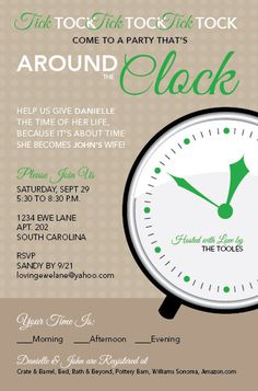 Around the Clock Invite by LovingEweLane on Etsy, $17.00
