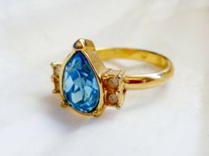 Faux Blue Topaz Teardrop Ring  Size 7  D1 by lilbooker on Etsy, $9.99