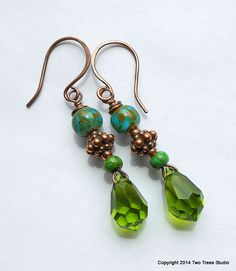 Verdant:  Retro meets modern in these colorful earrings by Two Trees Studio. $26.00.