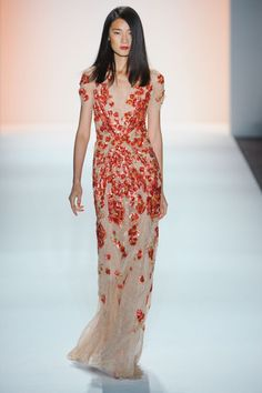 Jenny Packham Spring 2012. Metallic red/coral floral details on nude gown.
