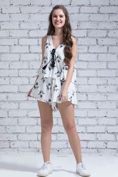 Zivame Floral Printed Tassled Playsuit- Off White  #Romper   #Whitye   #Printed     #Sleeveless