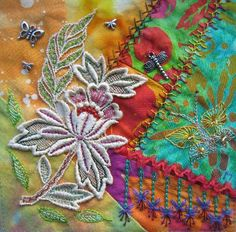 I ❤ crazy quilting . . . Summer DYB for Ritva. ~By Margreet from Holland