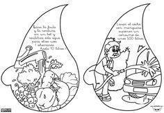 """El libro lo forman cuatro fichas con 8 dibujos en total, con las que se pretende concienciar en el uso y el ahorro del agua. Se ha dejado un espacio a la izquierda para pegar las """"gotas de agua"""" y formar un pequeño libro. También queda bien taladrándola y sujetándola …"""