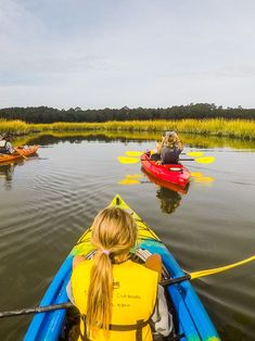 Kayaking in Huntington Beach State Park near Myrtle Beach, South Carolina. For tips on things to do in Myrtle Beach, see blog post inside!  #travel #myrtlebeach #southcarolina #familytravel #vacation #familyvacation